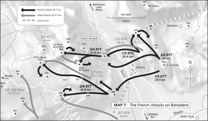 Map 7: The French Attacks on Belvedere