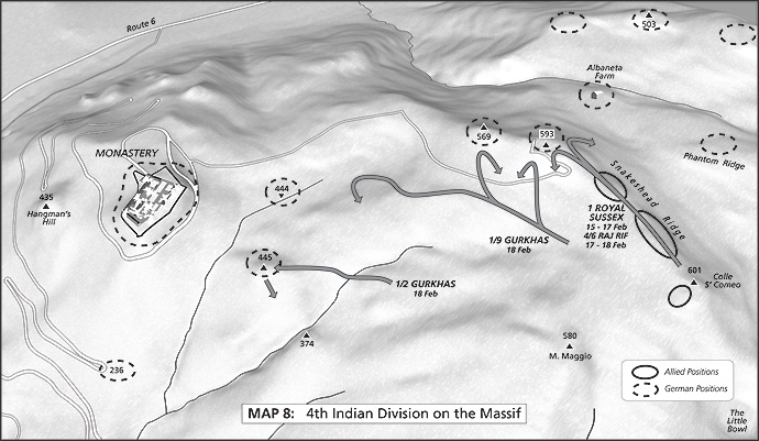 Map 8: 4th Indian Division on the Massif