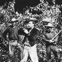 Members of an American surveying expedition in the Darién jungle, 1870.